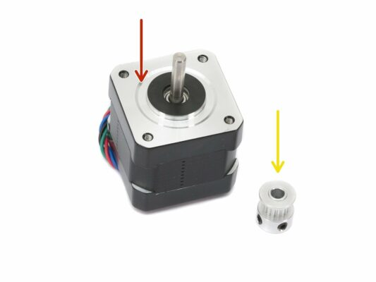 Assembling the X-axis motor pulley (part 1)